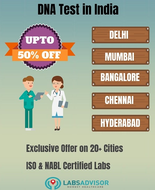 DNA test cost in various cities of India